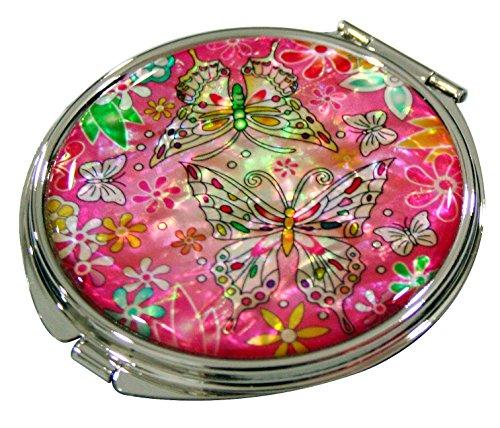Mère de perle rose fleur et papillon design double Compact Loupe Miroir de poche Sac de Maquillage Beauté
