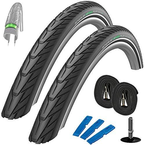 Schwalbe Energizer Plus Set: 2x Fahrradreifen für E-Bikes 47-622 (28 x 1.75) + 2 Stk. Schläuche AV 17 mit Auto Ventil + Reifenheber