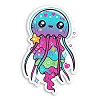 2 x 10cm Cute Jellyfish Vinyl Stickers - Fish Kids Ocean Laptop Sticker #20825 (10cm Tall)