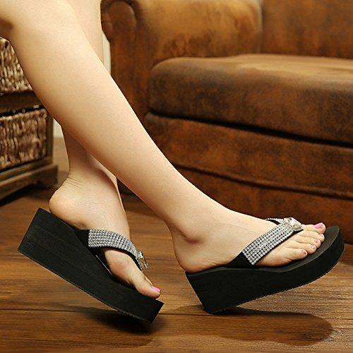 Pente avec sandales à talons hauts à bascule --- Pantoufles à talons hauts antidérapantes antidérapantes Chaussures de plage Sandales féminines de 18 à 40 ans --- Herringbone fashion sweet Sandals Noir