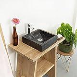 wohnfreuden Marmor Waschbecken 30 cm anthrazit  recht-eckig poliert  Steinwaschbecken oder Naturstein Waschbecken für Bad Gäste WC  inkl. techn. Zeichnung