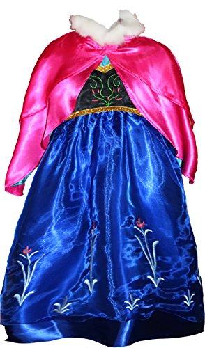Kostüm Fever Frozen Anna - MSC Eiskönigin Frozen Fever Anna Kostüm Kleid Dress Prinzessin Blau und Pink (116)