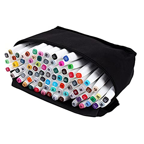 80-Color Marker Pen Set, Dual Tips Art Sketch Twin Marker Pens, Animation Design Drawing Art Pen with Carrying Case for Painting Coloring Highlighting and Underlining (80