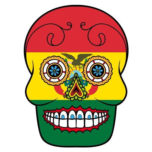 V-T-Shirt - Bolivien - Sugar Skull - Fahne - Damen Weiß