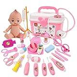 YAKOK 26 Stück Arztkoffer Kinder, Arzt Zubehör Spielzeug Arzt Spielzeug Set mit Stethoskop Kinderarztkoffer für Kinder Kleinkind Junge Mädchen ab 2-5 Jahre (Rosa)