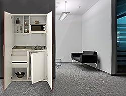 Office Kitchen Pantry Single respekta SKW Kitchenette Kitchenette White Front Red
