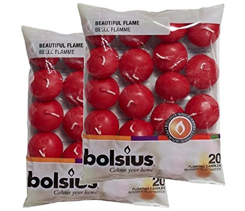 Bolsius candele galleggianti, colore rosso vino, 40 pezzi