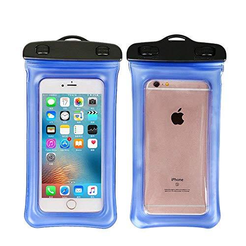 ITODA Trockensack Handy Trockentasche 5.5 Zoll Handytasche Umhängende Trockenbeutel Wasserdichte HandyBeutel Wasserfeste Schutzhülle Transparente Blau Schutztasche für iPhone 7,6,7plus,6S,6 Plus