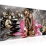 Photo Bouddha orchidée Décoration Murale 100 x 40 cm Toison - Toile Taille XXL Salon Appartement Décoration Photos d'art Blanc 1 parties - 100% MADE IN GERMANY - prêt à accrocher 505312a
