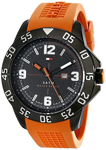 Tommy Hilfiger 1790985 Cole Uhr Herrenuhr Kautschuk Edelstahl schwarz 50m Analog Datum orange (Tommy Hilfiger Watch Orange)