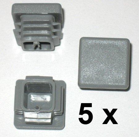 5 x Côtelé branche tube carré bouchons 20 x 20 mm (extérieur), bouchon gris