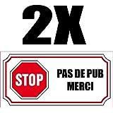 2 petits Autocollants STOP PAS DE PUB 4x8cm