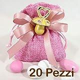Sacchetti Juta Rosa bomboniere Battesimo Femmina - 20 Sacchetti con Ciuccio, Blister di Confettini Rosa e Bianchi Misti di Colore e Gusto CRISPO