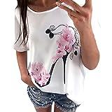 Damen Bluse DEELIN Frauen Kurzarm High Heels Printed Tops beiläufige Lose Damen Pullover Super Gemütlich Floral Splice Printing Rundhals Tops Elegantes charmantes T-Shirt (M, Weiß)