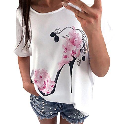 Damen Bluse DEELIN Frauen Kurzarm High Heels Printed Tops beiläufige lose Damen Pullover Super Gemütlich Floral Splice Printing Rundhals Tops Elegantes charmantes T-Shirt (S, Weiß)
