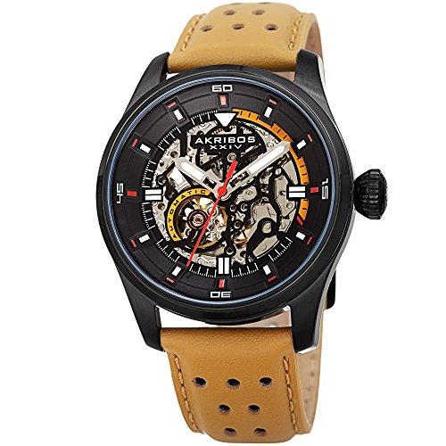 Akribos XXIV Men's Automatic Skeltonized Black & Tan Perforated Leather Strap Watch - AK1010BKTN (Tan Strap Leather Watch)