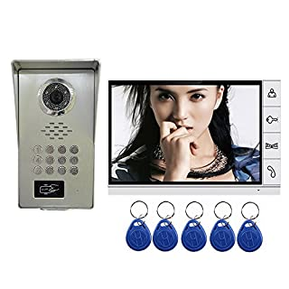 'amocam Video Door Phone System, A Full Aluminum Alloy IR Night Vision Camera, 9 LCD Monitor, Wired Video Intercom Doorbell Kits, Halterung RFID Keyfobs, Code Password Unlock, Monitoring, Intercom