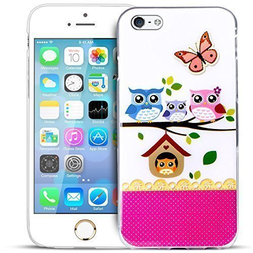Blitz® EULE OWL Schutz Hülle Transparent TPU Cartoon Comic Case iPhone Smile iPhone 5c Owl Family