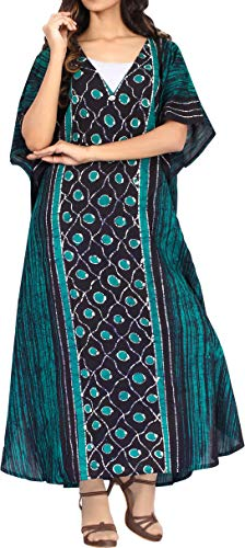 LA LEELA Women Long Kaftan Cotton Batik Tunic Caftans for sale  Delivered anywhere in UK