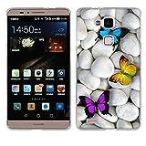 Fubaoda Ascend Mate 7 Hülle Case, [Schmetterlinge] Huawei Ascend Mate 7 Case silikon Hülle Premium Durchsichtig Handyhülle Backcover Durchsichtig hülle Case Schutzhüllen TPU Case für Ascend Mate 7