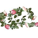 Blumen-Girlande/Rosen-Girlande aus Stoffin rosa pink & grün - Länge 2 Meter/Hochzeits-Deko/Geburtstags-Deko/Raum-Dekoration/Stoff-Girlande/Banner/Party & Feier Rosen