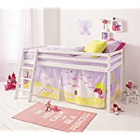 Noa and Nani - Midsleeper Cabin Bed with Princess Fairytale Tent - (White)