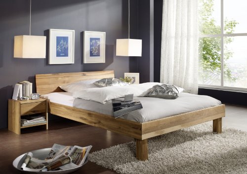 SAM Massives Holzbett 140x200 cm Columbia, Wildeiche Bett, geschlossenes Kopfteil, Massivholz Eiche geölt