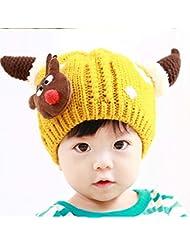 6-12 meses del bebé del sombrero del sombrero del invierno Dongkuan los bebés y casquillo del sombrero del casquillo del invierno Plus Fluff Línea T cuernos son a más largo terciopelo Como un 17,8 Yuan ( Color : Amarillo )