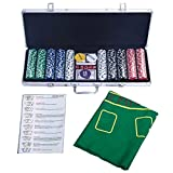 Pokerset Pokerkoffer Poker Set mit 500 LaserChips Pokerchips Alu Pokerkoffer + Tuch+2 Pokerdecks
