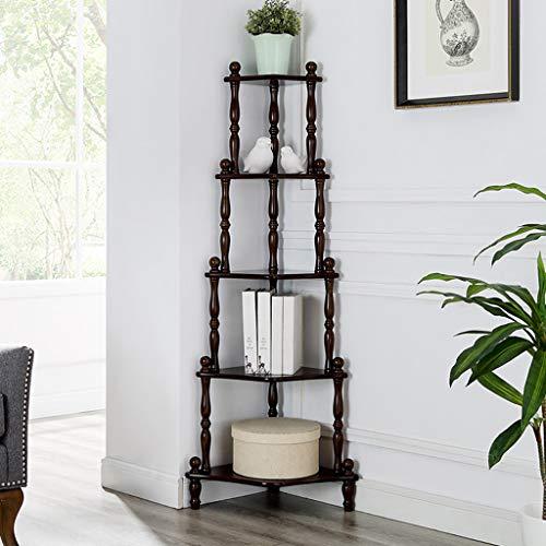Bücherregal Ecke Dekor Display Regal, Blume Stehen Massivholz Lagerung Organizer Rack, für Zuhause Schlafzimmer Wohnzimmer Büro (3 Farben) -