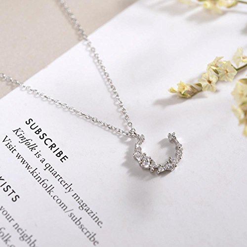 Aoligei Unregelmäßige Diamant Halskette s925 Sterling Silber Halbmond Schlüsselbein Kette Temperament einfach hundert Mädchen Mond (Diamant-halbmond Halskette)