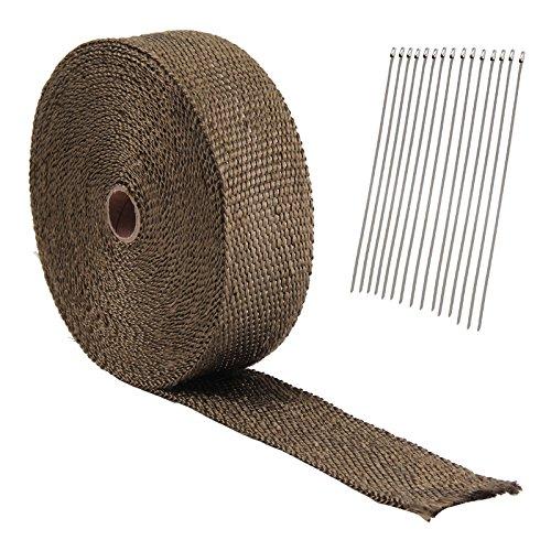 Allright 2*15m Titan Hitzeschutzband Basaltfaser Auspuffband mit Kabelbinder 50mm 1400°C +