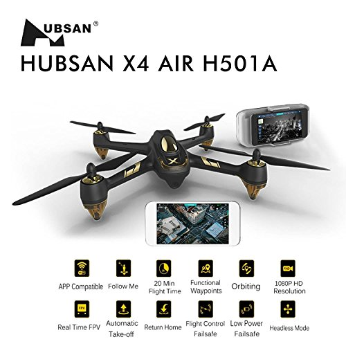 Hubsan X4 AIR Pro H501A Brushless Realzeit-FPV GPS Quadrocopter 5.8 Ghz Drohne mit 1080P Full HD Kamera und APP Intelligente Steuerung Headless-Modus RTH-Funktion Failsafe - 2