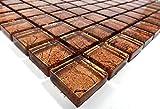 Fliesen Mosaik Mosaikfliesen Glas glänzend Kupfer Bad WC Küche 8mm Neu #S05