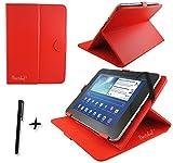 Rot PU Leder Cover Case Protector & Ständer für ViewSonic ViewPad 10s 25,7cm Zoll Tablet PC + Eingabestift