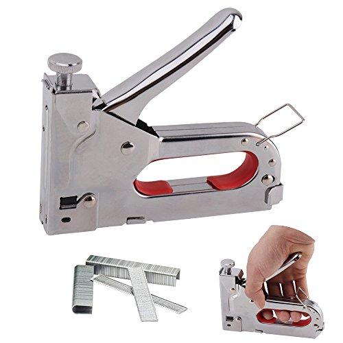 3 en 1 Kit de grapas para uñas, 4EVERHOPE Operado a mano Pistola engrapadora de acero inoxidable para la armadura de la tapicería de la puerta de los muebles de madera con 600 grapas adjuntas