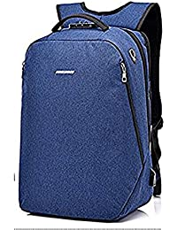 Anti Theft Number Lock Laptop Bag Water Resistant Oxford Laptop Backpack With USB Charging Port Bag (Blue)