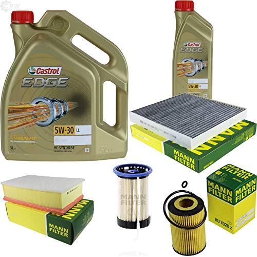 Preisvergleich Produktbild Filter Set Inspektionspaket 6 Liter Motoröl Castrol EDGE Titanium FST 5W-30 LL MANN-FILTER Innenraumfilter Kraftstofffilter Luftfilter Ölfilter