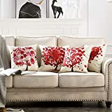 MIULEE Pack of 4 Decorative Red Tree Pillow Covers Pillowcases Solid Square Cushion Cover Cotton Linen Throw Pillow Covers Home Decor for Sofa Car Bedroom 18x18 Inch