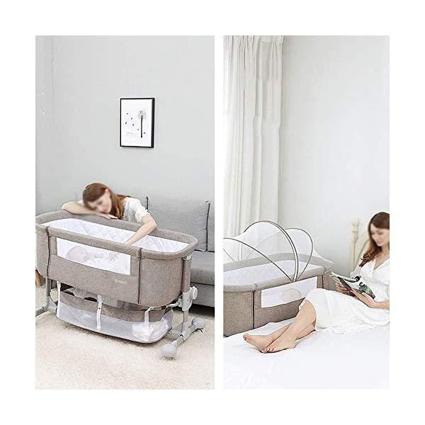 LYYJIAJU Baby Crib Portable Bassinet Bed Infant Kids Travel Playpen Multifunction Height Adjustable Pack Deluxe Beds Pocket Changer Cribs Bag & Caster LYYJIAJU Material: Aluminum alloy tube + cotton and linen (sturdy, environmentally friendly, no odor, no formaldehyde, no toxicity); applicable age: newborn - 2 years old Features: with mosquito net; large-capacity storage bag; foldable, free installation, easy to carry; universal wheel, with brake, silent; breathable mesh bed; seamless splicing bed size (length x width x height): 110X56X78CM; inner diameter: 100x50cm; height adjustable: 6 files (32-67cm) 7