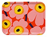 Marimekko Pieni Unikko Tablett 43 x 33 cm, orange/rosa/gelb