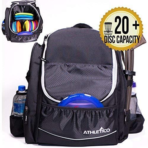 Athletico Power Shot Disc Golf-Rucksack, 20 + Disc-Kapazität, für Pro oder Anfänger, Unisex-Design, schwarz