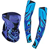 Vodool 1 Pair Unisex Outdoor Cycling Sun UV Protection Cooling Fashion Arm Sleeves+ Scarf Set