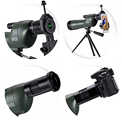 BNISE Spotting Scope for Birdwatching - 20-60x60 Zoom Monocular Compact Telescope - FMC Optics - Waterproof - With Handheld Tripod Stand, Case , Cover- with Camera and Phone Photography Adapters