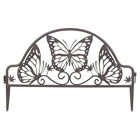 Flexible Garden Lawn Edging Grass Pond Fence Picket Border Plastic Wall (Butterfly Arch - 4pc)