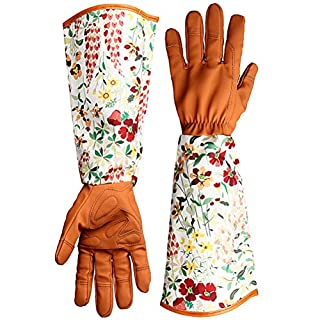 kuou Thorn Proof Leather Garden Gloves, Floral Print Sleeves Garden Gauntlet, Long Arm Work Gloves for Women