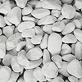 PALIGO Marmor Kies Splitt Deko Zier Edel Kiesel Steine Garten Natur Dekor Perlweiß Grob 40-60mm 20kg Sack / 1 Karton Galamio®