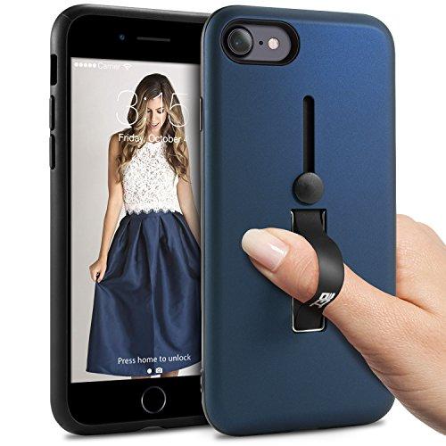 iPhone 7 Hülle, iPhone 8 Hülle BEZ® Handyhülle Ring Fingerhalterung Outdoor Dual Layer Bumper Case Schutzhülle für iPhone 7, Shockproof Robuste mit Ständer, Schwarz Blau Navy