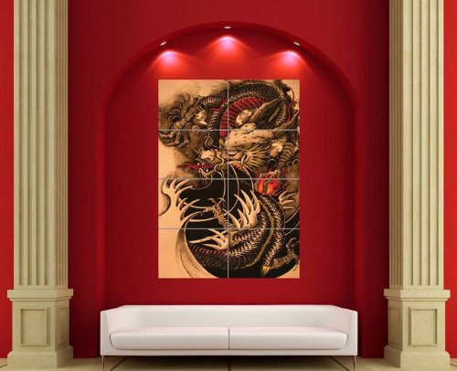 CHINESE DRAGON TATTOO GIANT AFICHE CARTEL IMPRIMIR CARTELLO POSTER ART PRINT X3413