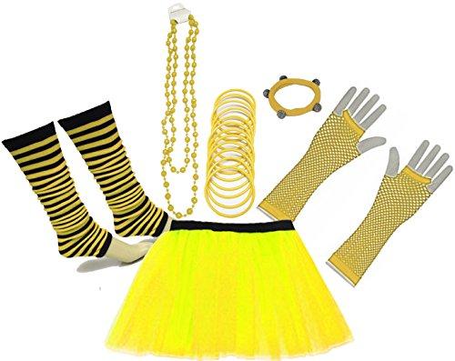 A-Express 80er Damen Neon Tütü Rock Beinstulpen Fischnetz Handschuhe Tüll Fluo Ballett Verkleidung Party Tutu Rock Kostüm Set (36-44, Gelb)